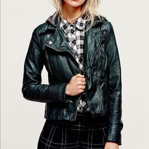 Free People vegan leather moto jacket hooded